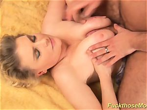 chubby unshaved mom gets horny poked