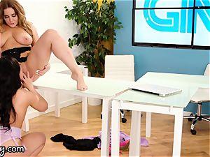 lesbian teenage Under Natasha Nice's Desk fuckbox playing