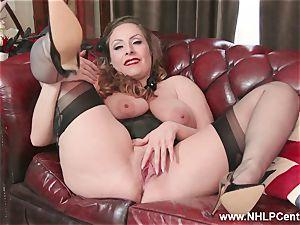 innate fat fun bags brunette Sophia Delane jacks in nylons