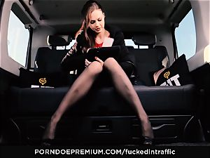 torn up IN TRAFFIC - Footjob and car fuckfest with Tina Kay