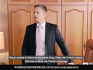 pornography ACADEMIE Lana Rhoades enjoys smashing French man sausage