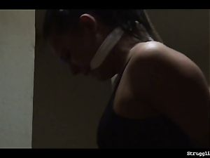 Vixen trussed gagged spanked caned nipple-clamped vibrated