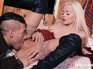 tiny crimson riding spandex hood Elsa Jean drilled ballsack deep by draped hunter