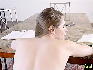 super-hot sister torments her step brutha by rubbing his hefty shlong
