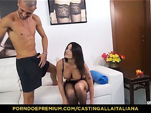 audition ALLA ITALIANA - Blue-eyed woman gets butt nailed