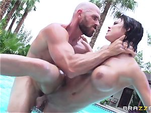 huge-boobed Peta Jensen - messy orgy by the pool