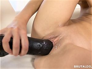 blonde nubile Victoria Puppy vag gaped by large dildo