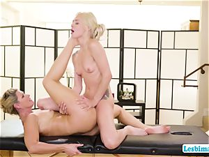 Elsa and India adores hot sixty-nine posture on the massage table