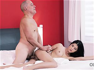 OLD4K. youthful nubile plumbed by senior playmate till schlong eventually erupts