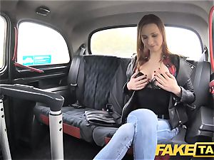 faux cab slender ginger-haired enjoys rough fucky-fucky