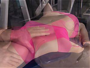 Gym babe Casey Calvert enjoying her exercise