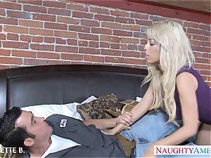 big-boobed platinum-blonde Bridgette B. take manstick