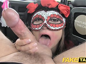 fake taxi nymph in mask gets drilled in the ass