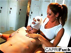 Xander wins the reward of Capri's cock-squeezing honeypot