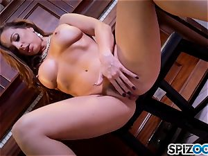 super hot fingering puss act with the uber-sexy dark-haired Abigail Mac