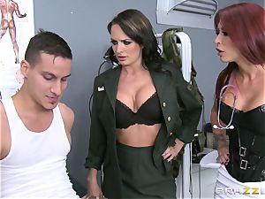 Alektra Blue and Monique Alexander put a soldier through his paces