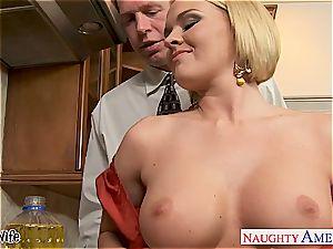 big-boobed wifey Krissy Lynn gobbling spunk in the kitchen