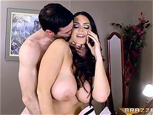 ginormous boobed Alison Tyler plumbs her paramour as she speaks to her fellow