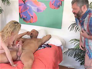 Angel Smalls Has Her husband slurp spunk Off Her