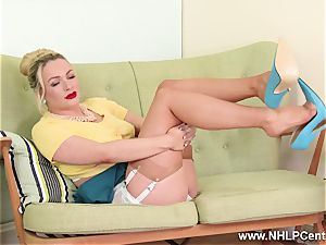 blonde mummy strip teases in retro underwear nylons stilettos