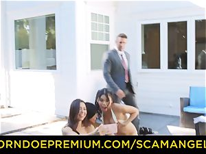 SCAM ANGELS - sizzling Melissa Moore boned in insane 4some