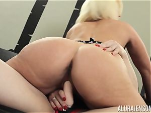 Alura Jenson cunny filled with strap-on strong bulky woman Brandi May