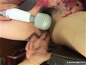 asian cockslut likes to be bdsm treated to a wax demonstrate