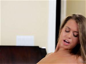 ultra-kinky Jill Kassidy deepthroating off her stepbros knob
