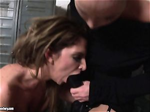 Kathia Nobili lets a super-steamy doll deepthroat her cable on